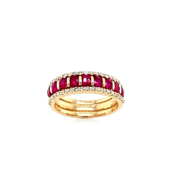 14k Yellow Gold Ruby and Diamond Band Confer's Jewelers Bellefonte, PA