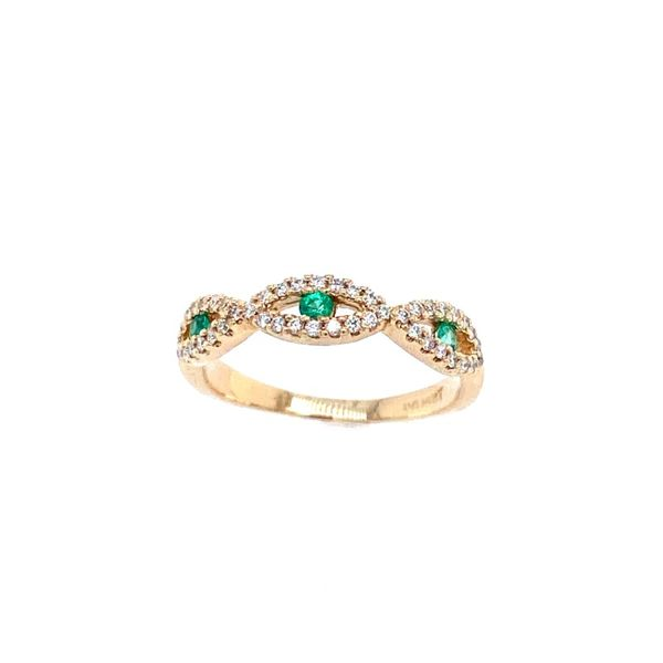 14k Yellow Gold Diamond and Emerald Band Confer's Jewelers Bellefonte, PA