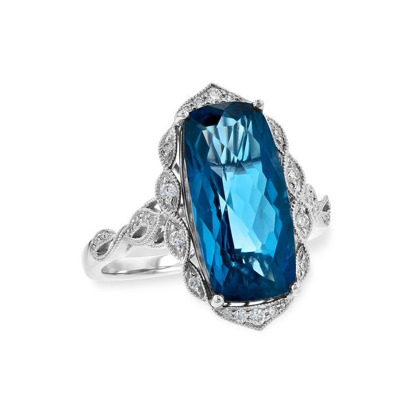 White Gold London Blue with Diamond Fashion Ring Confer's Jewelers Bellefonte, PA