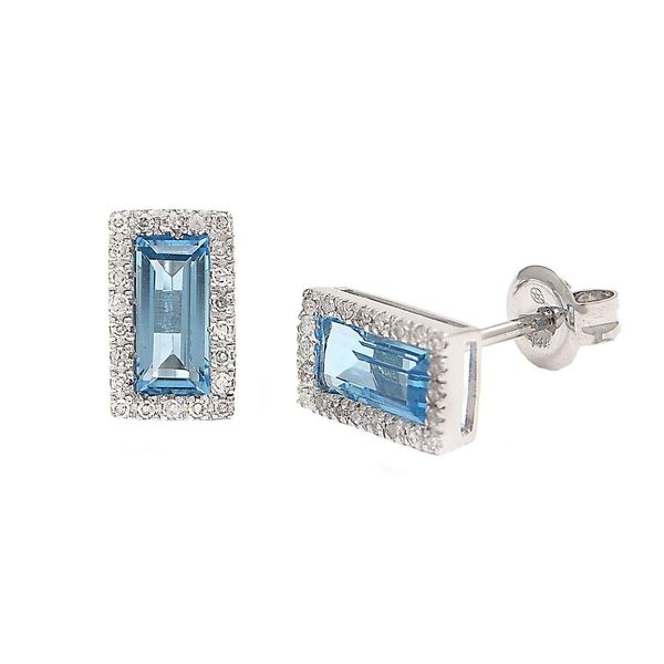 Blue Topaz and Diamond Halo Stud Earrings Confer's Jewelers Bellefonte, PA