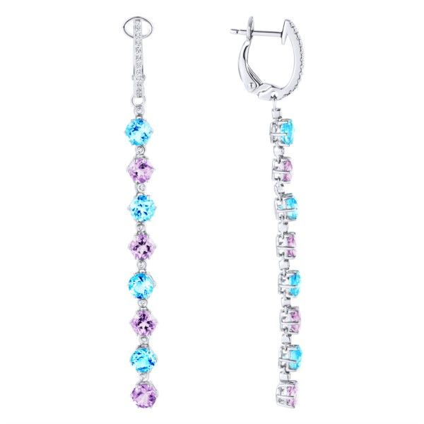 14kWhite Gold Blue Topaz, Amethyst, and Diamond Dangle Earrings Confer's Jewelers Bellefonte, PA