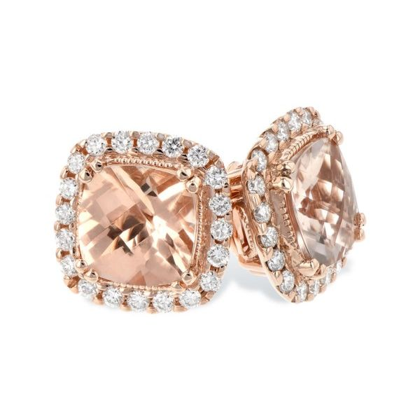 14K Morganite & Diamond Earrings Confer's Jewelers Bellefonte, PA