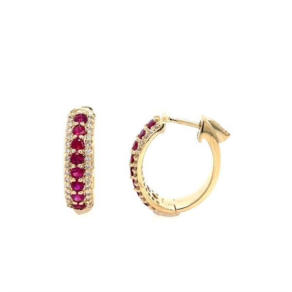 14K Yellow Gold Diamond And Ruby Oval Hoops Confer's Jewelers Bellefonte, PA