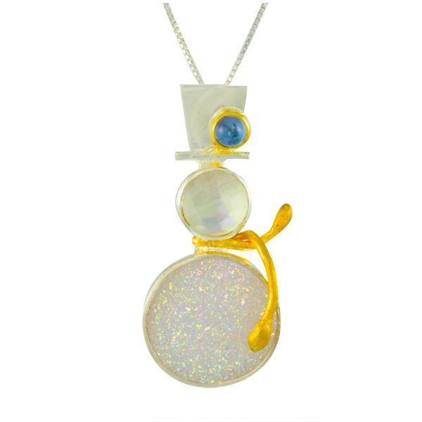 Sterling Silver and 22K Gold Vermeil Gemstone Snowman Pendant Confer's Jewelers Bellefonte, PA