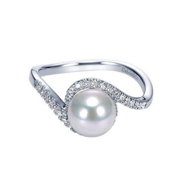 14k White Gold Gabriel NY Pearl & Diamond Ring Confer's Jewelers Bellefonte, PA