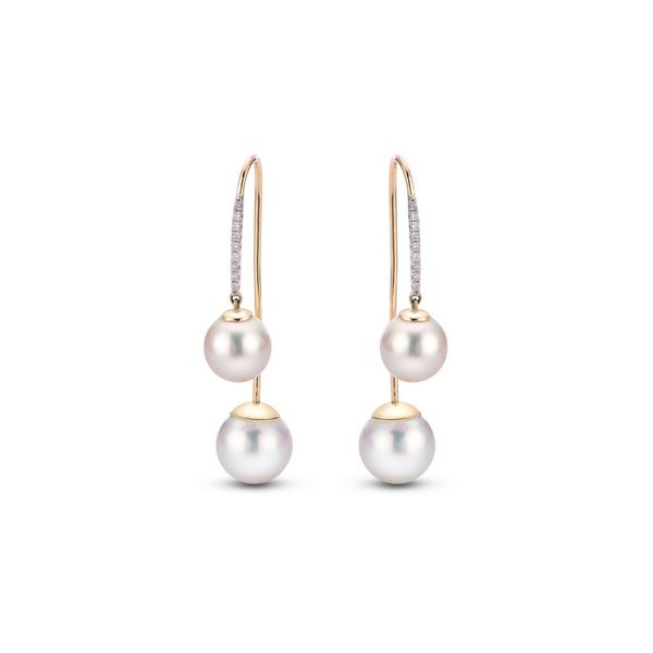 Pearl & Diamond Threader Earrings 14K Gold Confer's Jewelers Bellefonte, PA