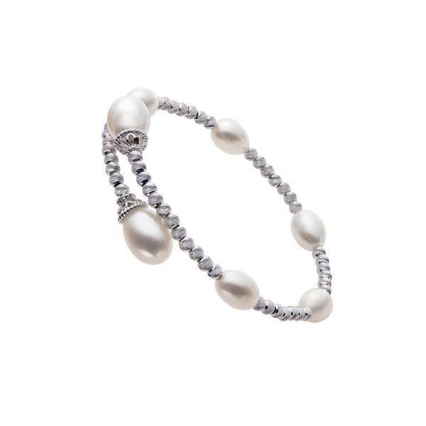 Sterling Silver Freshwater Pearl Flexible Bangle Bracelet Confer's Jewelers Bellefonte, PA
