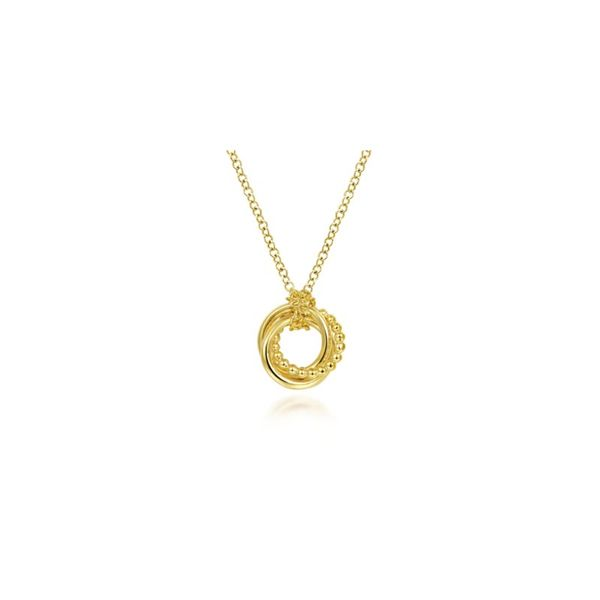 14K Yellow Gold Plain and Bujukan Beaded Interlocking Circles Pendant Necklace Confer's Jewelers Bellefonte, PA