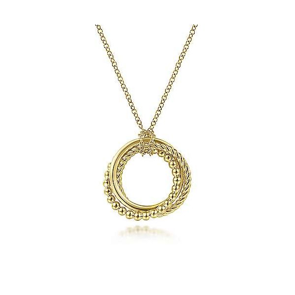 14K Yellow Gold Twisted Rope and Plain Multi Circles Pendant Necklace Confer's Jewelers Bellefonte, PA