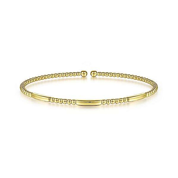 14K Yellow Gold Alternating Bujukan Bead and Plain Bar Cuff Bracelet Confer's Jewelers Bellefonte, PA