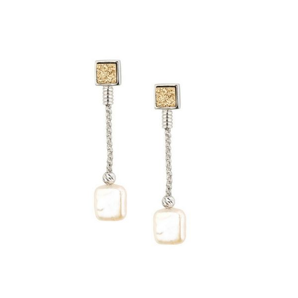 Sterling Silver Golden Drusy with Fresh Water Pearl Earrings Confer's Jewelers Bellefonte, PA
