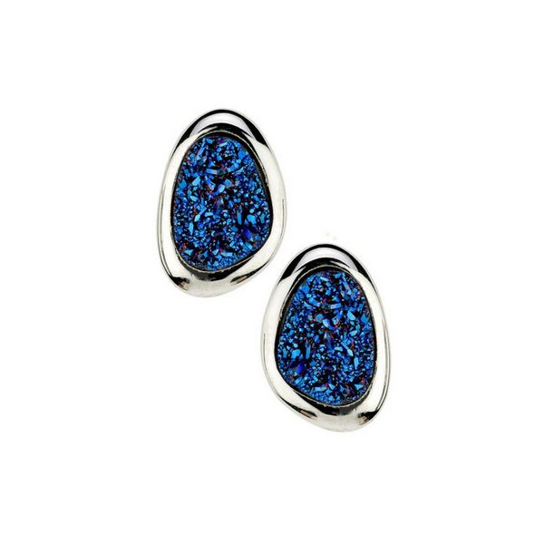 Sterling Silver Blue Drusy Earrings Confer's Jewelers Bellefonte, PA