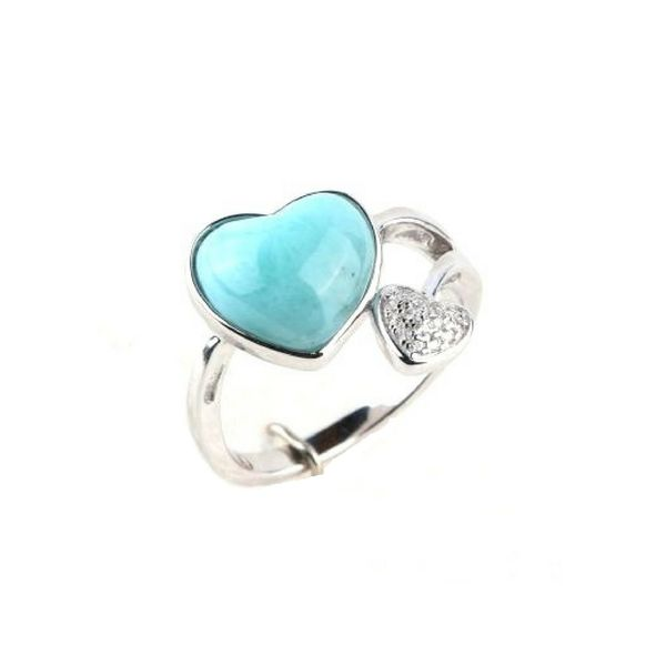 Sterling Silver Heart Larimar Stone & CZ Ring Confer's Jewelers Bellefonte, PA