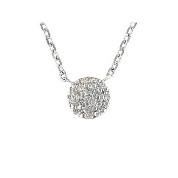 Sterling Silver Pave Diamond Disc Necklace Confer's Jewelers Bellefonte, PA