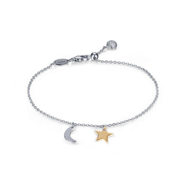 Sterling Silver and Simulated Diamond Moon and Star Bracelet Confer's Jewelers Bellefonte, PA