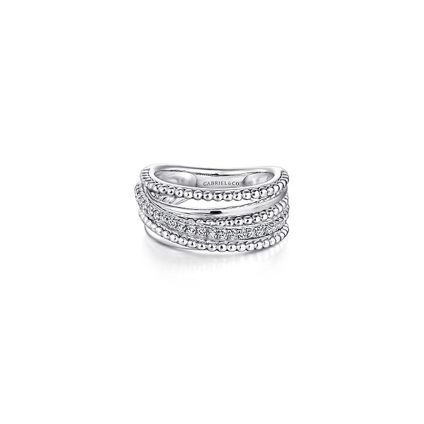 925 Sterling Silver Layered Bujukan Beaded White Sapphire Ring Confer's Jewelers Bellefonte, PA