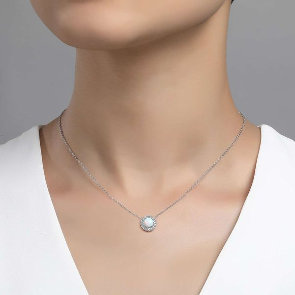 Lafonn Classic Halo Opal Pendant Necklace Image 2 Confer's Jewelers Bellefonte, PA