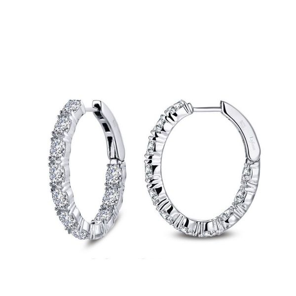 Lafonn 4.4 CTW Oval Hoop Earrings Confer's Jewelers Bellefonte, PA