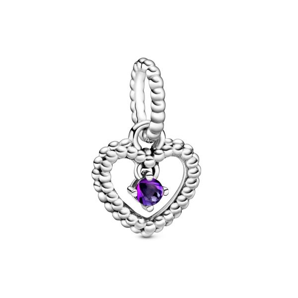 Purple Beaded Heart Dangle Charm - February Confer's Jewelers Bellefonte, PA
