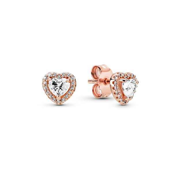 Sparkling Elevated Heart Stud Earrings Confer's Jewelers Bellefonte, PA