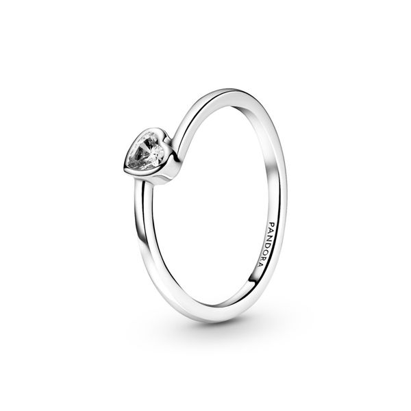 Clear Tilted Heart Solitaire Ring Confer's Jewelers Bellefonte, PA