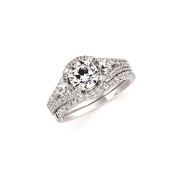 Forever Elegant™ 1/2 Ctw. Diamond Semi Mount shown with 1 Ct. Round Center Diamond in 14K Gold Conti Jewelers Endwell, NY