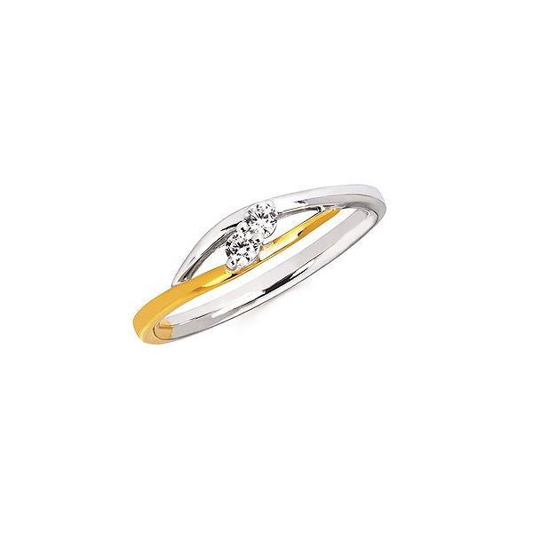 1/10 Ctw Diamond Two-Stone Two-Tone Promise Ring In 10K Yellow And White Gold Conti Jewelers Endwell, NY