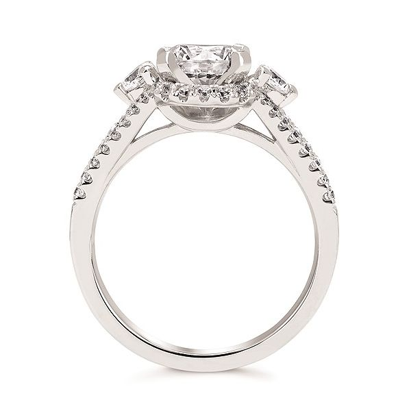 Forever Elegant™ 1/2 Ctw. Diamond Semi Mount shown with 1 Ct. Round Center Diamond in 14K Gold Image 3 Conti Jewelers Endwell, NY
