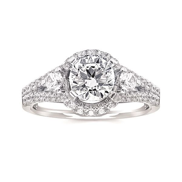 Forever Elegant™ 1/2 Ctw. Diamond Semi Mount shown with 1 Ct. Round Center Diamond in 14K Gold Image 2 Conti Jewelers Endwell, NY