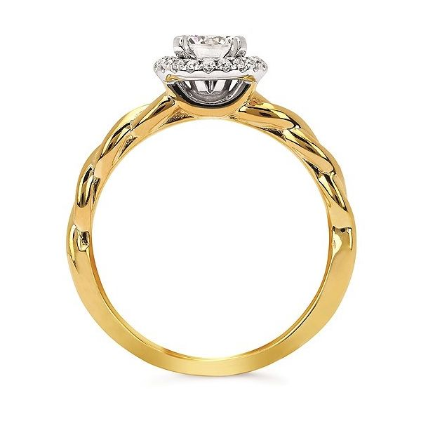 Forever Elegant™ Diamond Semi Mount shown with 1/2 Ct. Round Center Diamond in 14K Gold Image 2 Conti Jewelers Endwell, NY