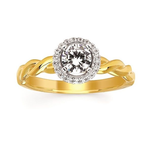 Forever Elegant™ Diamond Semi Mount shown with 1/2 Ct. Round Center Diamond in 14K Gold Conti Jewelers Endwell, NY