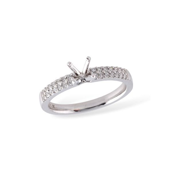.20cttw Double Banded Solitaire Semi Mount in 14k White Gold Conti Jewelers Endwell, NY