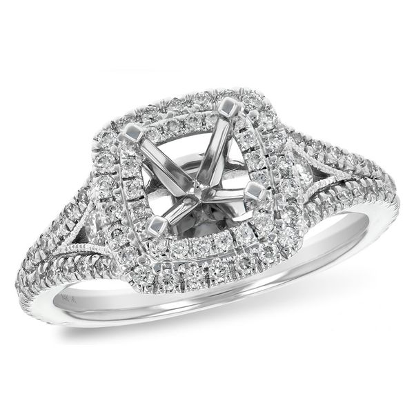 Diamond Double Halo Semi-Mount Engagement Ring in 14k White Gold Conti Jewelers Endwell, NY