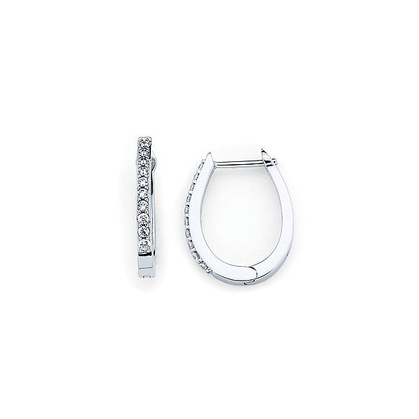 .20 cttw Small Diamond Hoop Earrings in 14k White Gold Conti Jewelers Endwell, NY