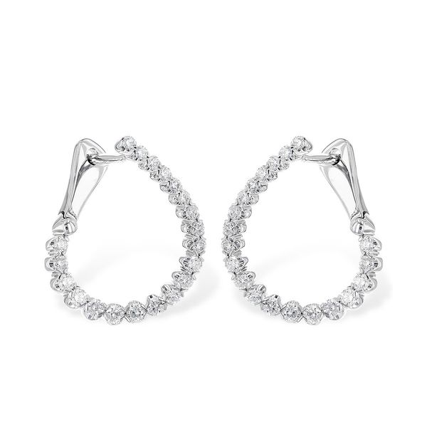 1/2cttw Diamond Inside Out Hoop Earrings in 14k White Gold Conti Jewelers Endwell, NY