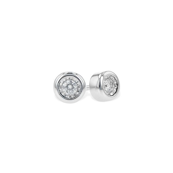 .10cttw Bezel-Set Diamond Stud Earrings in 14k White Gold Conti Jewelers Endwell, NY