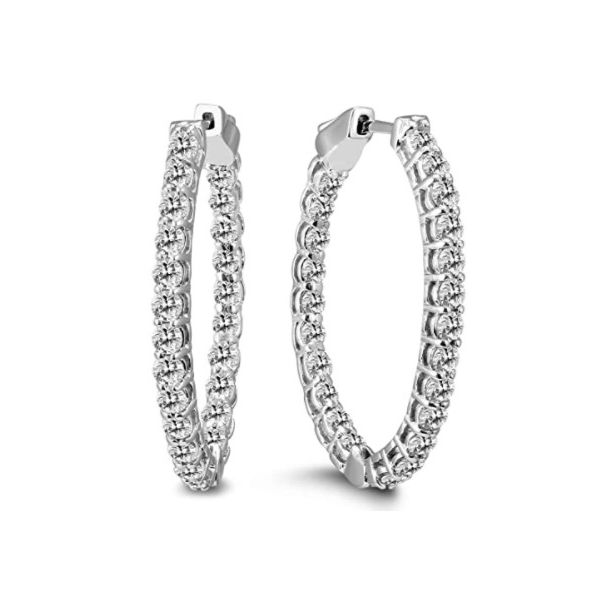 3cttw Oval Lab-Grown Diamond Hoop Earrings with Push Button Locks in 14k White Gold Conti Jewelers Endwell, NY