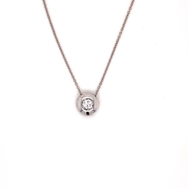 .15ct Diamond Heavy Bezel-Set Solitaire Necklace in 14k White Gold Conti Jewelers Endwell, NY