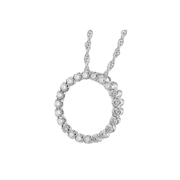 1/2 CT. T.W. Diamond Circle Pendant in 14k White Gold Image 2 Conti Jewelers Endwell, NY