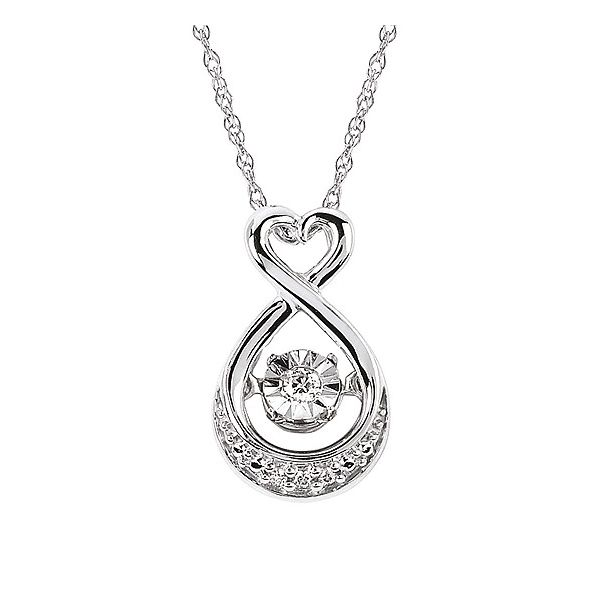 Shimmering Diamonds® Heart Drop Pendant In Sterling Silver With .03 Ctw. Diamonds Image 2 Conti Jewelers Endwell, NY