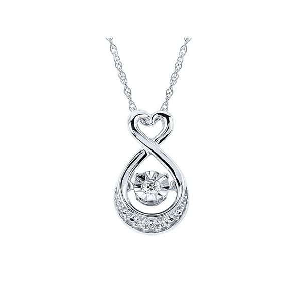 Shimmering Diamonds® Heart Drop Pendant In Sterling Silver With .03 Ctw. Diamonds Conti Jewelers Endwell, NY