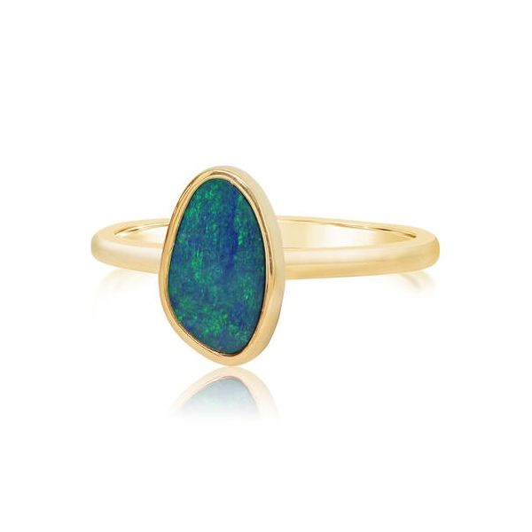 14K YELLOW GOLD AUSTRALIAN OPAL SMOOTH SHANK RING Conti Jewelers Endwell, NY