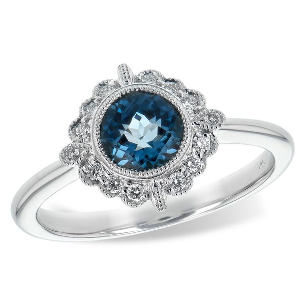 Vintage Inspired 1.05cttw London Blue Topaz and Diamond Accent Frame Ring in 14k White Gold Conti Jewelers Endwell, NY