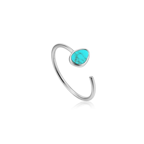 Silver Tidal Turquoise Adjustable Ring Conti Jewelers Endwell, NY