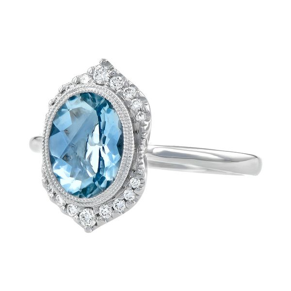 1.56ct Aquamarine & .14cttw Diamond Fashion Ring in 14k White Gold Image 2 Conti Jewelers Endwell, NY