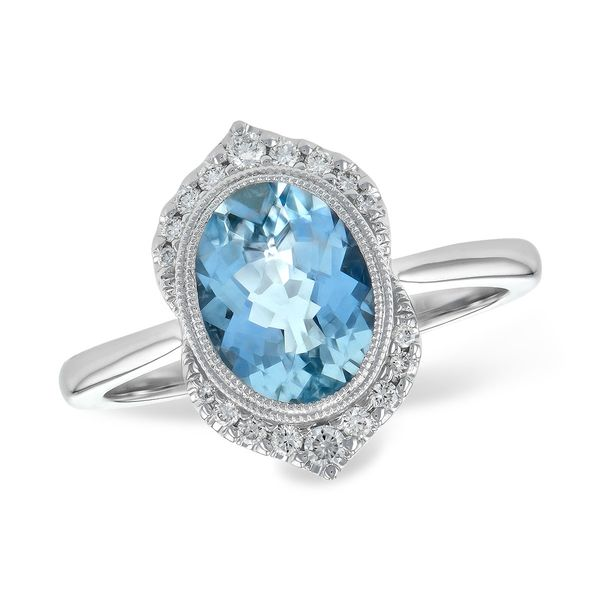 1.56ct Aquamarine & .14cttw Diamond Fashion Ring in 14k White Gold Conti Jewelers Endwell, NY