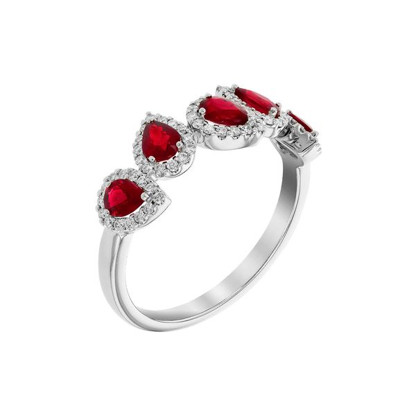 .90cttw Ruby & .24cttw Diamond Fashion Band in 14k White Gold Image 2 Conti Jewelers Endwell, NY