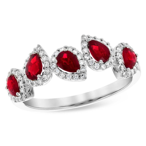 .90cttw Ruby & .24cttw Diamond Fashion Band in 14k White Gold Conti Jewelers Endwell, NY