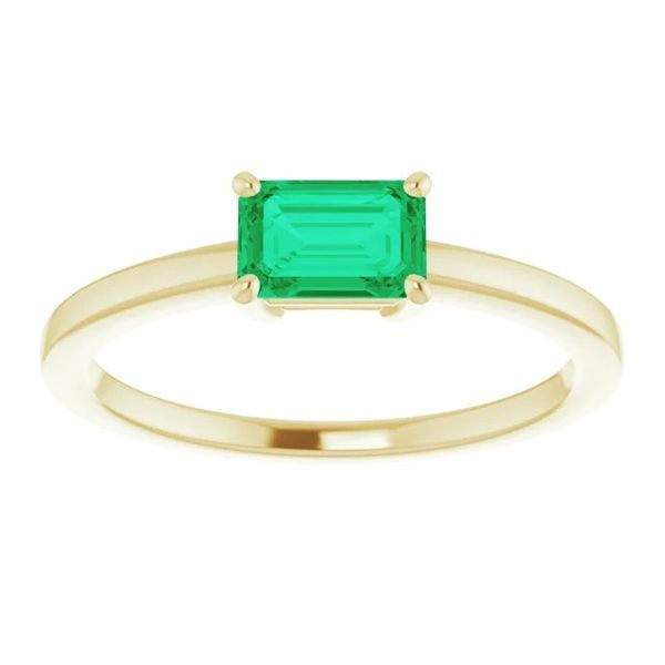6x4mm Lab-Created Emerald Solitaire Ring in 14k Yellow Gold Image 3 Conti Jewelers Endwell, NY