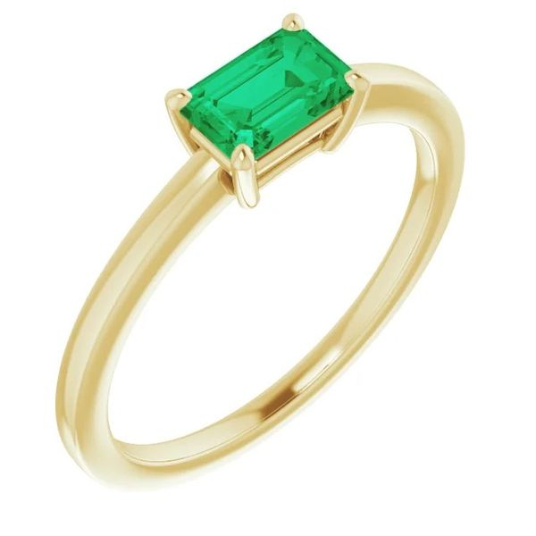 6x4mm Lab-Created Emerald Solitaire Ring in 14k Yellow Gold Conti Jewelers Endwell, NY
